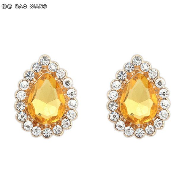 European Fashion Jewelry Acrylic Artificial Gemstones Earrings Golden Zinc Alloy Waterdrop Drip Jewel Ear Studs Gift For Women