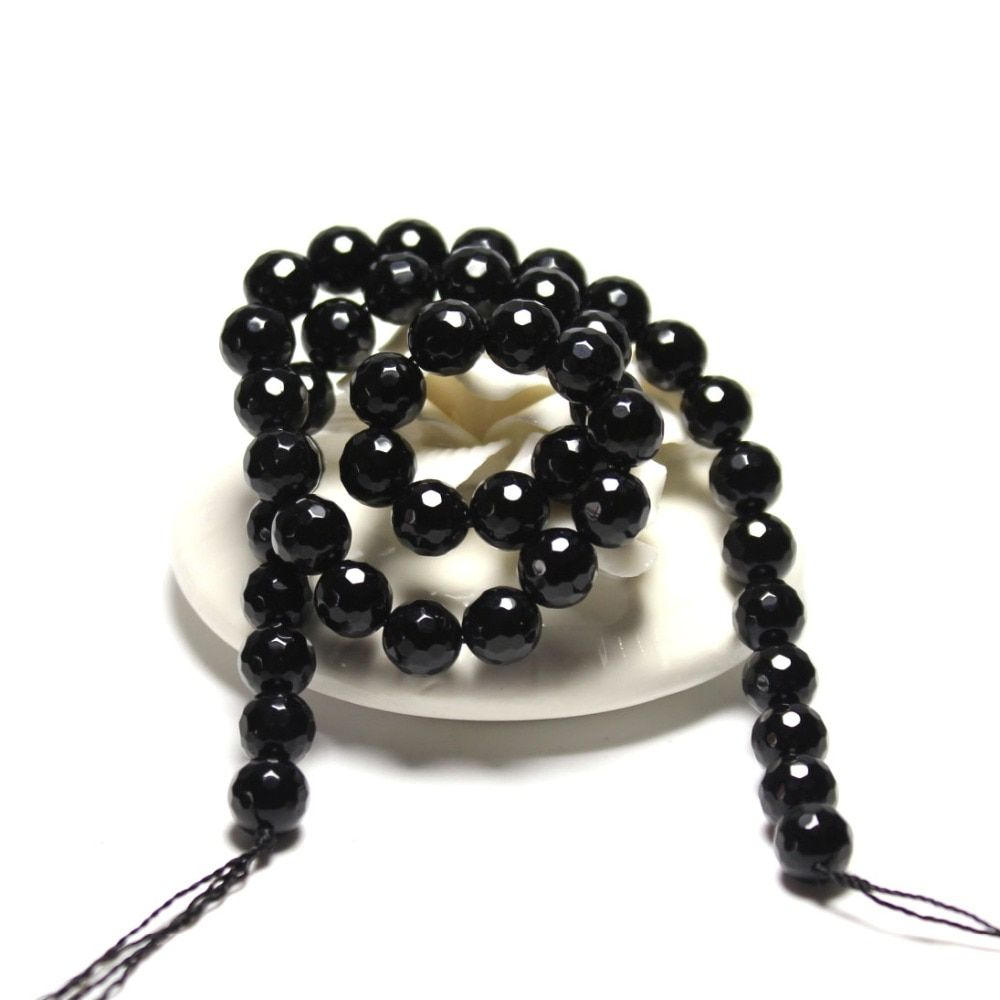 Wholesale AAA+  Faceted Black Agat Natural Stone Beads Brown Jewelry Making DIY Bracelet Material 4/ 6/8/10/12 mm Strand 15.5''