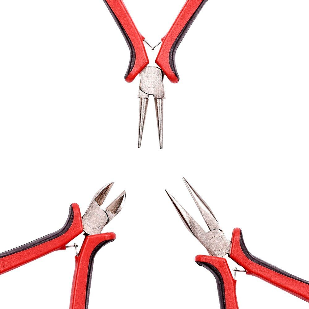 PANDAHALL DIY Jewelry Plier Tool Sets Ferronickel Side-Cutting Chain-Nose(Flat Nose Plier) & Round Nose Pliers Making Equipment