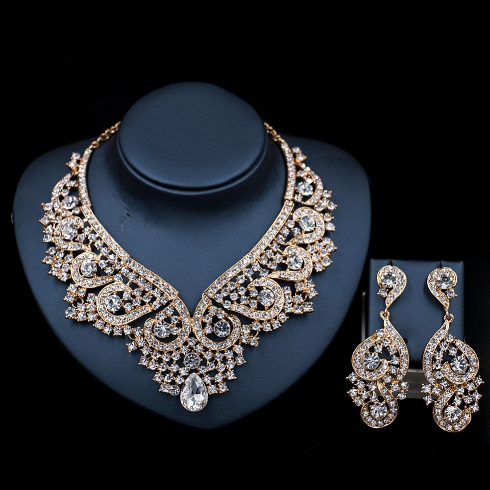 2017  LAN PALACE  dubai gold jewellery austrian crystal necklace and earrings jewelry set india jewelry free shipping