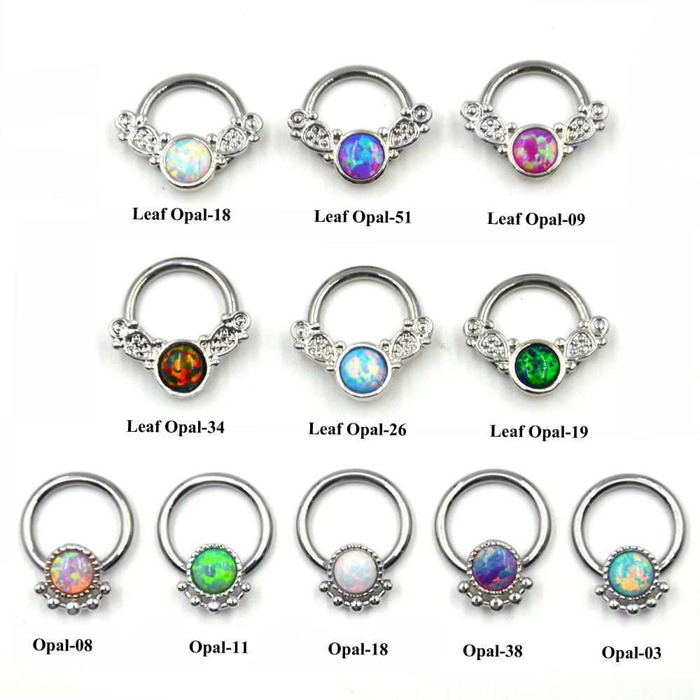 1Pc Opal Nose Ring Hoop Tribal Leafs Captive Bead Ring Clicker BCR Septum Cartilage Earring Lip Piercing Jewelry 14G 16G