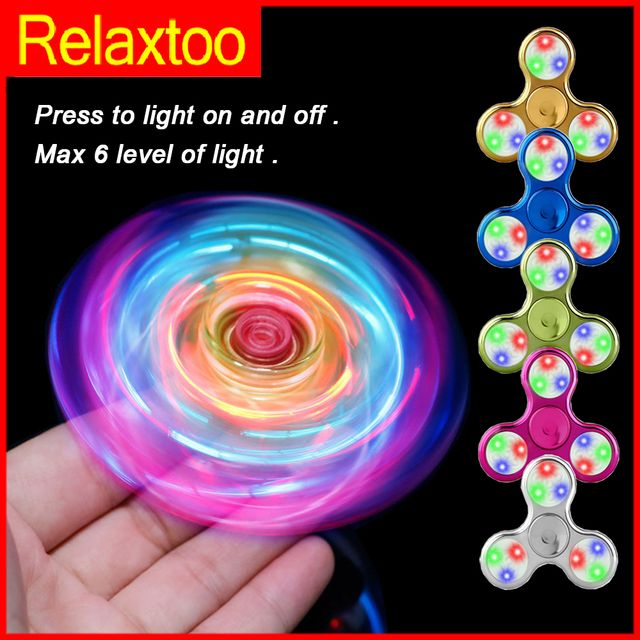 LED Spinner Crystal Clear Fidget Hand Spinners Glow Flash Light EDC spinners Figet Finger Spiner for ADHD Stress Relief Toys