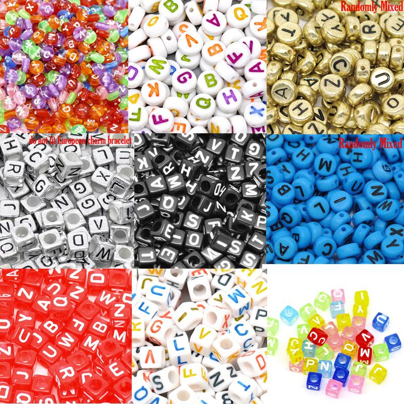 "6mm 100pcs Alphabet ""A-Z"" Cubic Letter Beads Acrylic Spacer Beads Bead Loom Band Bracelet Jewelry Findings Making DIY"