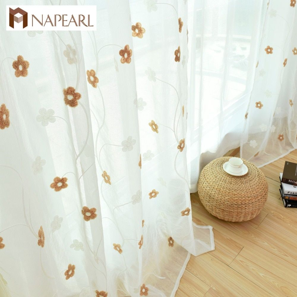 Embroidered white silk screens  finished living room bedroom floral design tulle fabrics window treatments voile tulle curtain
