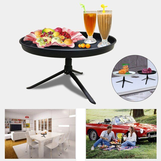 Portable Fruit Plate Bracket Compote Household Outdoor Picnic Food Plate Solid Black Home/Car food plate dishes with Tripod