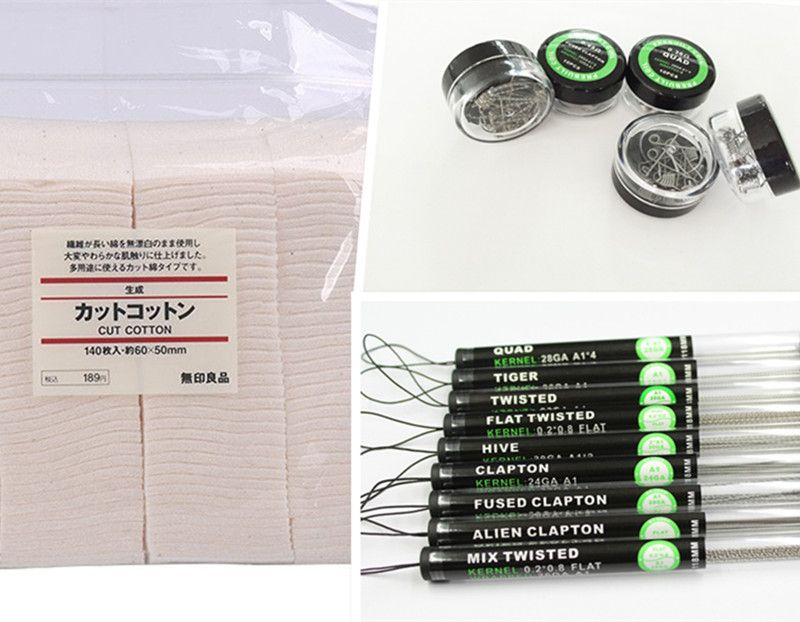 High quality Ecig Kanthan prebuilt Sub Ohm Coil Wire+Muji cotton for RDA /RBA/RTA ecigarette Atomizer Heating premade coil