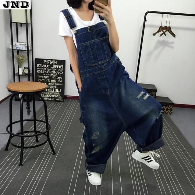 Free Shipping 2016 New Fashion Ladies Overalls Harem Pants High Quality Denim Jeans Loose Jumpsuits And Rompers Plus Size S-XL