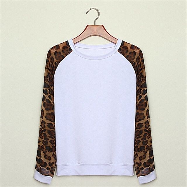 2017 Chiffon Sleeve Casual Sweatshirts Women Spring Autumn Fashion Brand Leopard Girls Hoodies