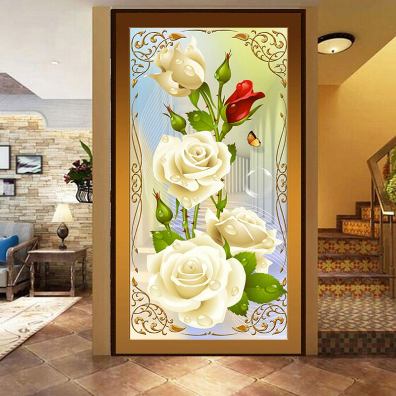 5d Diy Diamond Painting Cross Stitch White Roses Diamond Embroidery Flower Serie Vertical Print Rubik's Cube Drill Stuck Drill
