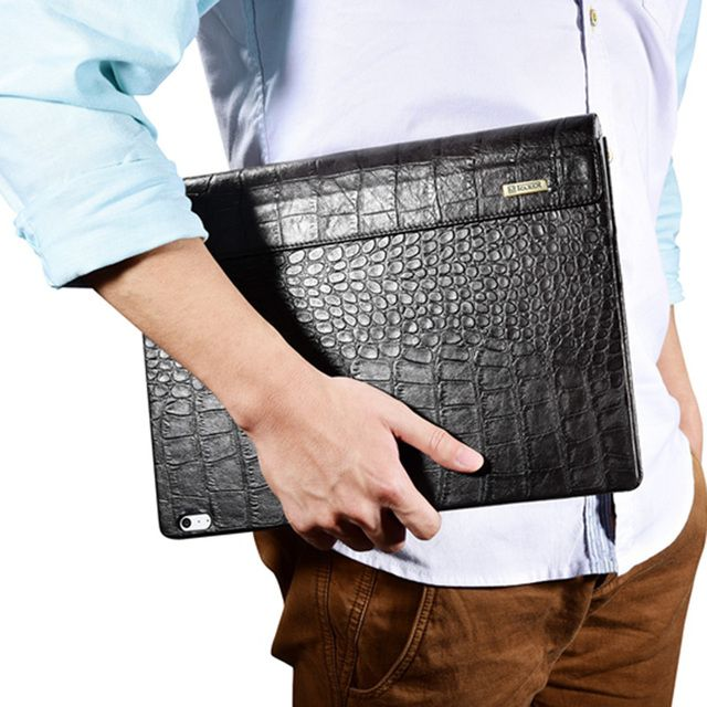 For Microsoft Surface Book Sleeve Bag Embossed Crocodile Genuine Leather Detachable Flip Case For Surface Book Black Cover Skin