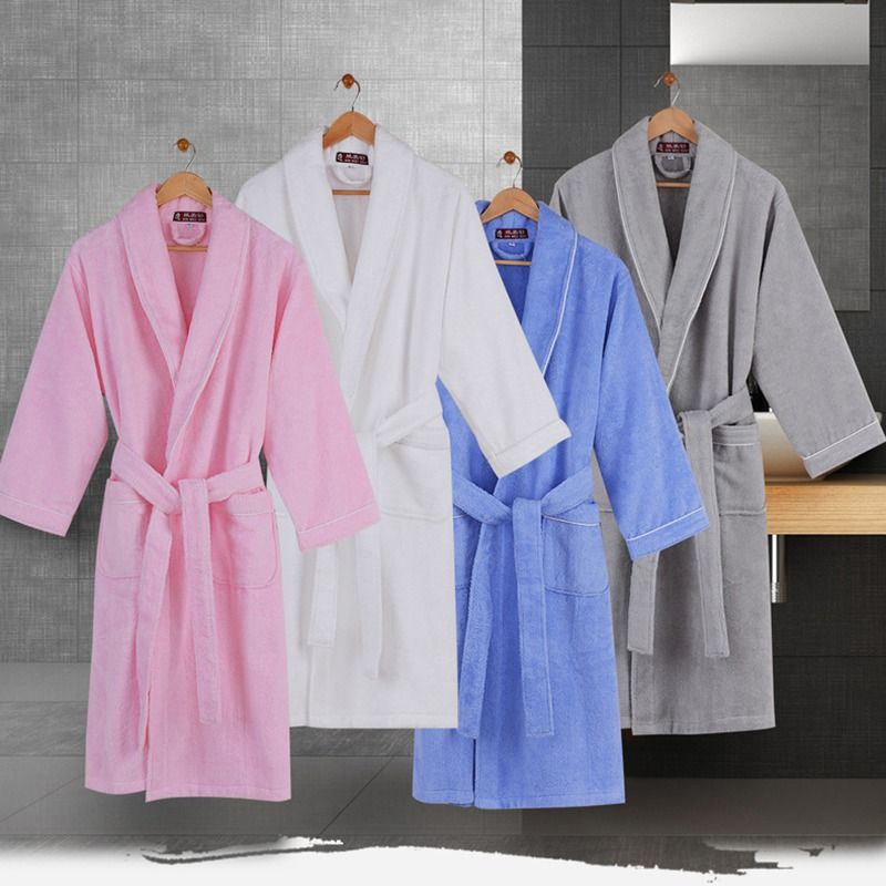 Men bath robe Men's gown cotton long thicken warm sleepwear women nightgown men home towel fleece autumn winter grey blue