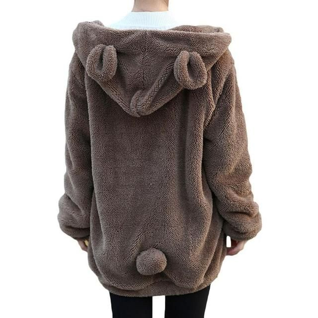 Zipper Girl Winter Loose Fluffy Bear Ear Hoodie Hooded Jacket Winter Warm Outerwear Coat cute sweatshirt Hot Sale Women Hoodies