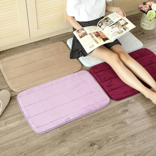 40x60cm Memory Foam Bath Mats Living room Bathroom Horizontal Stripes Rug Non-slip Bath Mats B