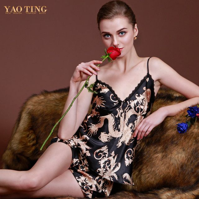 New Design Sexy Pajamas Women Luxury Dragon Printed Silk Pajamas Sets Summer Pajamas Sleepwear M/L/XL