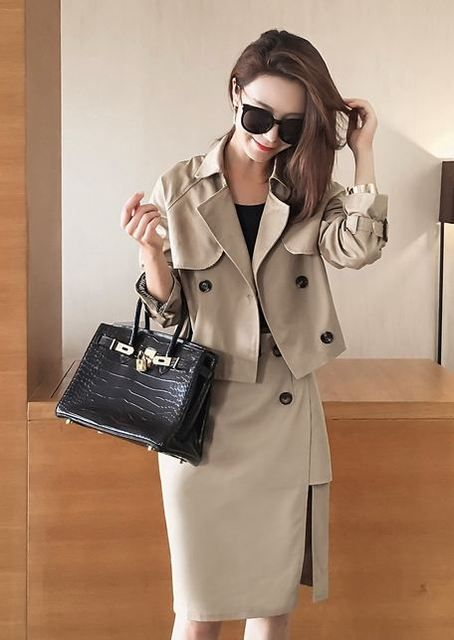 New 2016 Autumn Women'S Clothing Set Korean Fashion Leisure Trench Coat & Bust Skirt Suit Two-Piece Outfit Business Costume