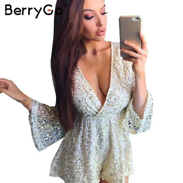 BerryGo Sexy lace gold sequin jumpsuit romper Women hollow out long flare sleeve overalls Summer 2017 deep v neck black playsuit