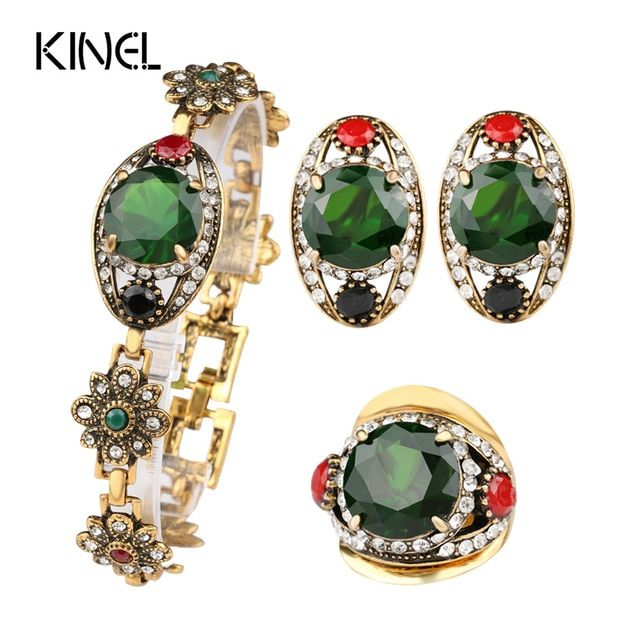 Free Shipping 2015 Latest Green Womens Jewellery Gold Sets Vintage Look Earrings And Bracelet Cheap Fashion Jewelry Sets