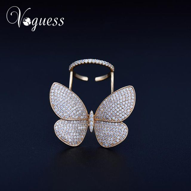 VOGUESS Brand Exaggerated Luxury AAA Cubic Zirconia Big Movable Butterfly Rings For Women Gold Color Shiny Party Accessories