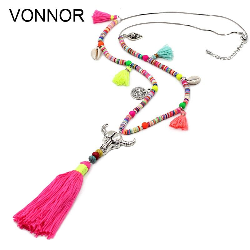 VONNOR Jewelry Women Statement Necklace Bohemian Colorful Beads Shell Tassel Pendant Female Girls Long Necklace for Dress