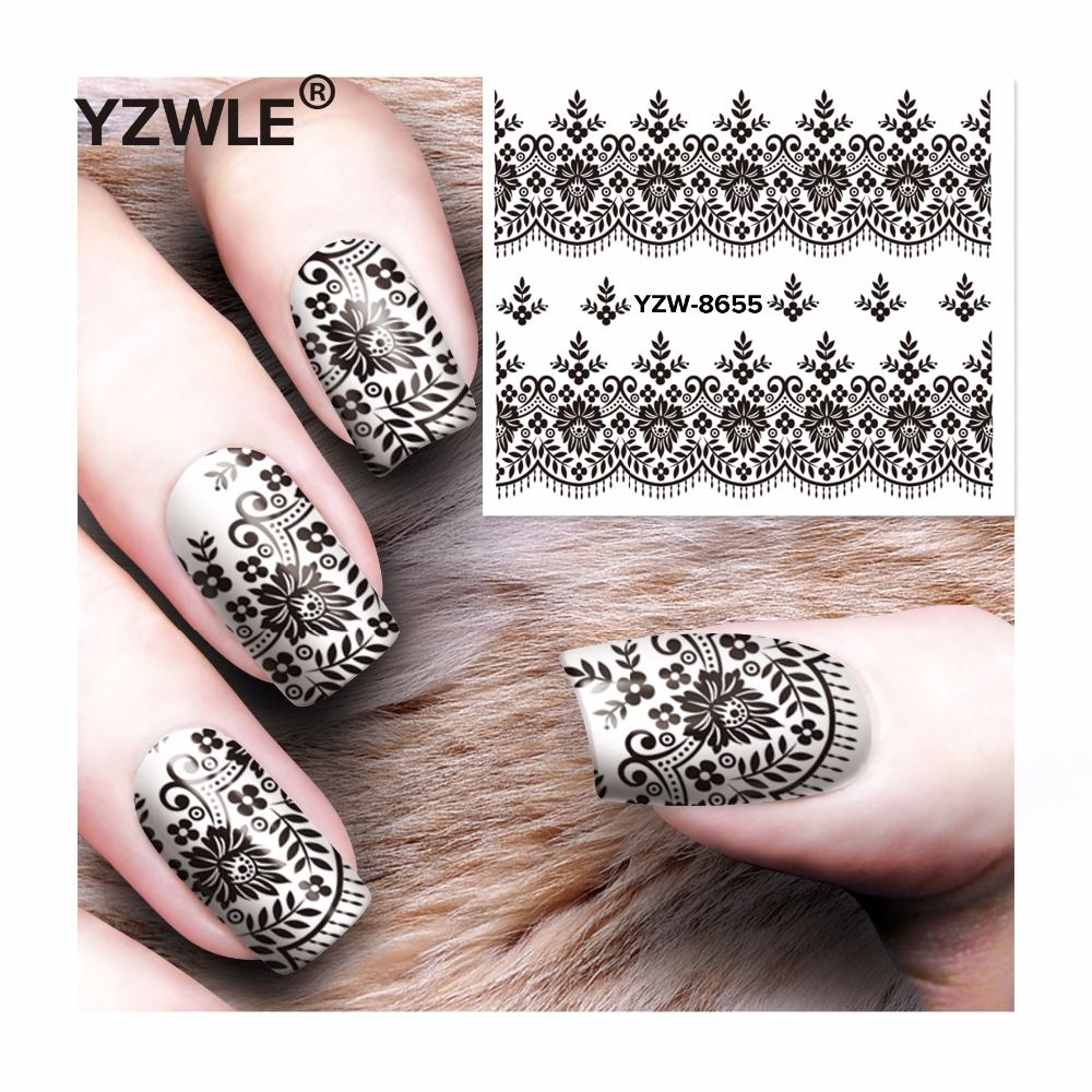 YZWLE 1 sheet Water decal Nail Stickers decals black lace design nail sticker For nail accessories nail water transfer