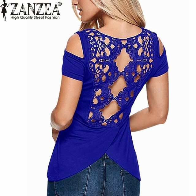 ZANZEA 2018 Summer Blusas Sexy Women Blouses Lace Crochet Short Sleeve Backless Off Shoulder Split Tops Blouse Shirt Plus Size