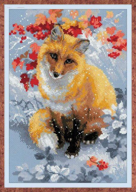 Top Quality 14CT Counted Unprinted Cross Stitch Kits Needlework Fox Animals in the flowers Embroidery Home Decor Arts Handmade