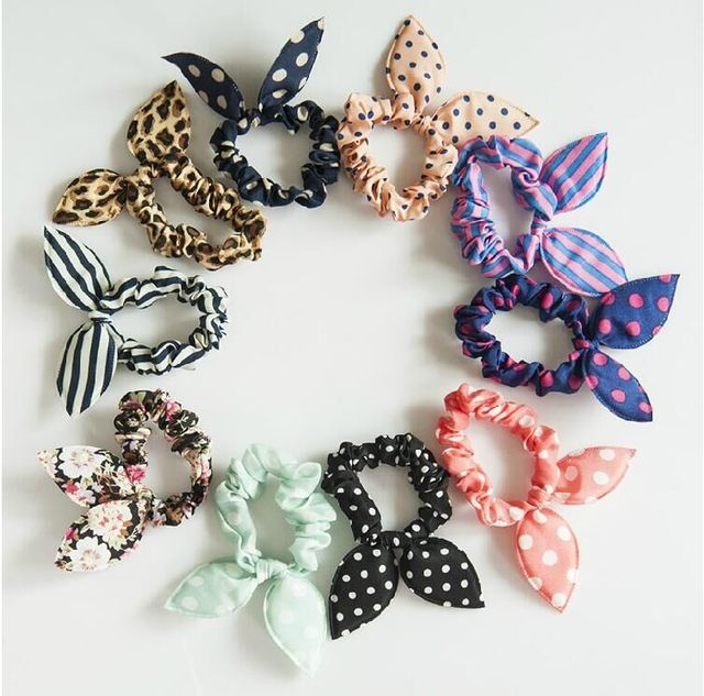 New 10pcs Lot Mix Style Clips For Hair Band Polka Dot Leopard Trip Hair Rope Rabbit Ears Headwear Hair Tie girl Hair Accessorie