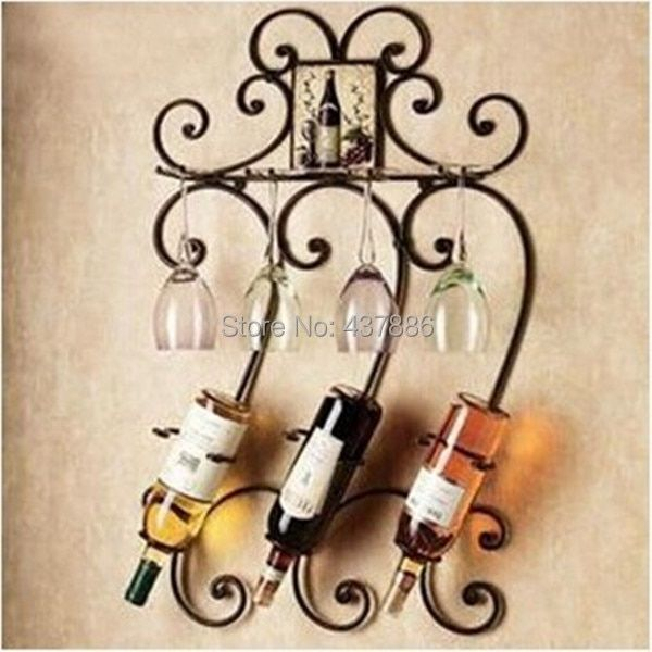 Different colors fashion wine bottle holder wrought iron wall hanging wine rack bar wine glass holder