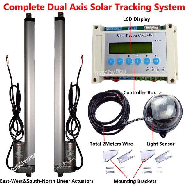 "Solar Tracker Track Dual Axis Complete Kits-2PCS DC12V 450mm/18"" Linear Actuator &LCD Controller for Solar Panel Tracking System"