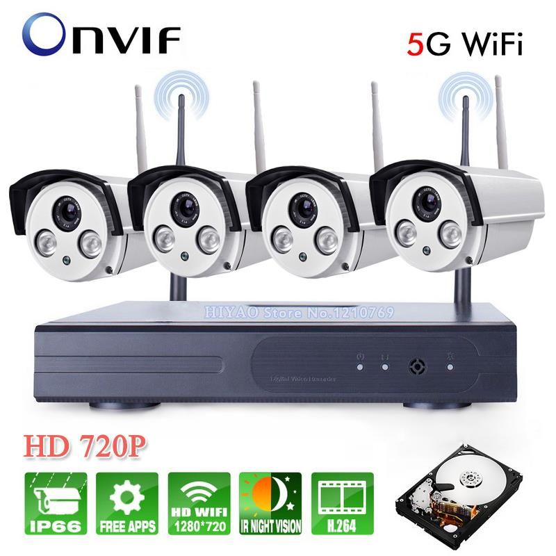 4CH IR HD Home Security Wifi Wireless IP Camera System 720P CCTV SET Outdoor Wifi Cameras Video NVR Surveillance CCTV KIT
