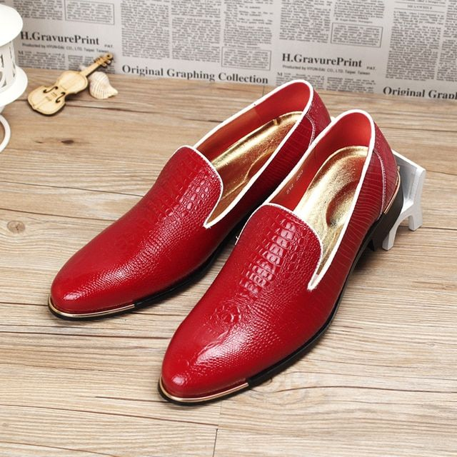new 2016 men loafers pointed toe alligator genuine leather flat casual shoes driving shoes wedding shoes size 39-44