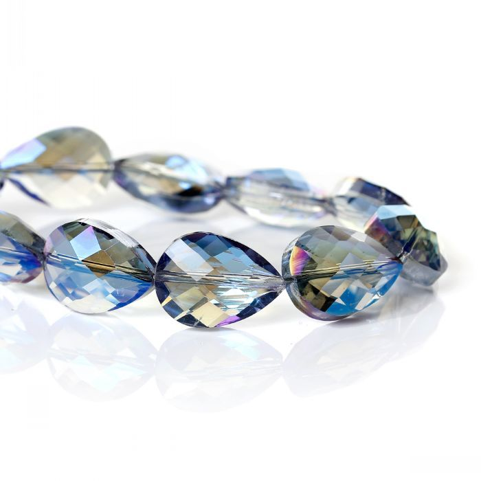 "8SEASONS Crystal Glass Loose Beads Teardrop Blue AB Color Faceted About 18mm x 13mm(6/8"" x 4/8""),53cm,1 Strand(approx 30PCs)"