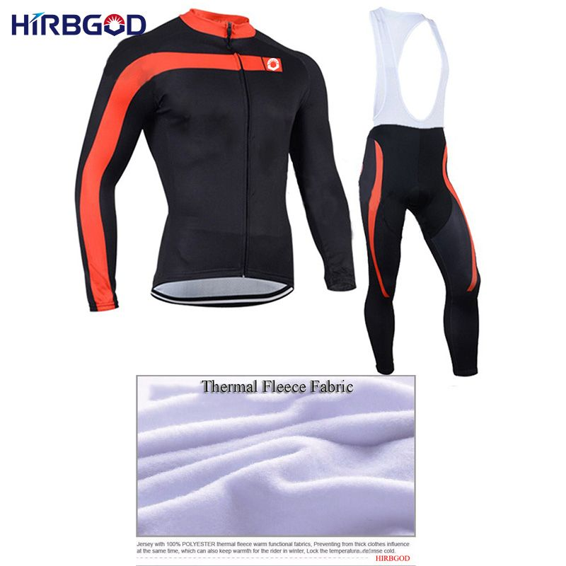 HIRBGOD XS-5XL Male winter thermal cycling jersey suits mens long sleeve fleece clothes cycling sets jerseys + bibs kits,NM234