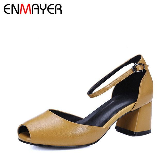 ENMAYER Mary Janes Chunky Heels Peep Toe Buckle Strap Chunky Heels High Heels Cute Shoes Women Summer Women Pumps Outside Party