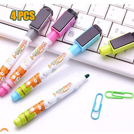 4pcs Cartoon cute Whiteboard Marker Magnetic Whiteboard Pen Dry Erase White Board Markers Magnet Pens Built In Eraser