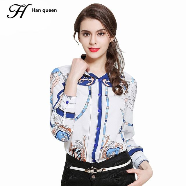 H Han Queen New Printing White Blouse Chiffon Long Sleeve Women Tops Fashion Turn-down Collar Casual Shirt Female Clothing Blusa
