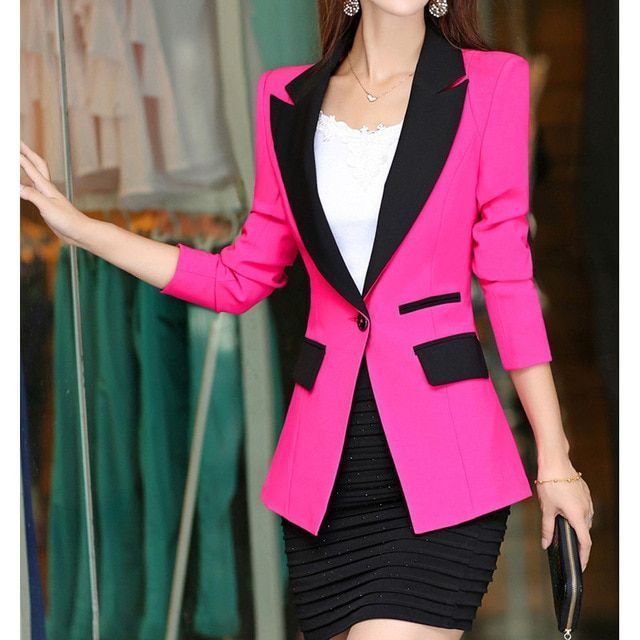 2015 New Arrival Natural Color Single Button Notched Broadcloth Regular Solid Blazers 2015 Women Spring Coat Jacket