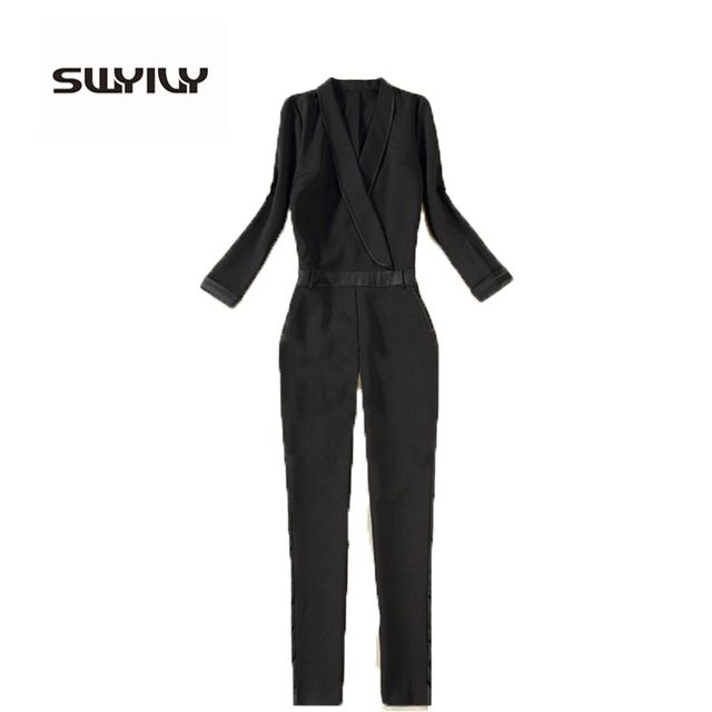 Black Elegant Jumpsuits 2017 New European Brand Rompers Combinaison Plus Size XXL Sexy V-Neck Enteritos Mujer