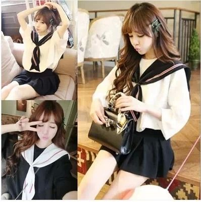 Summer Girls Lolita White&Black Navy style dress Chiffon Fashion Uniform Sailor collar Cute Japan Women Lovely Loose Dress