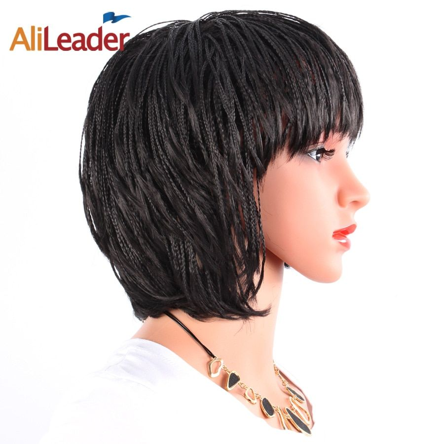 AliLeader Kanekalon Short Black Box Braid Wig For Women, Bob Style Heat Resistant Synthetic African American Afro Wigs 12 Inch