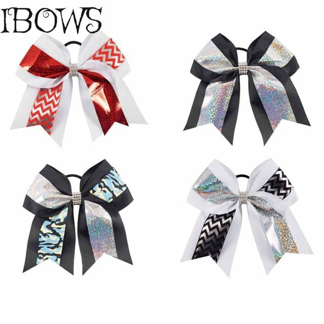 1Pc 7Inch Fashion Glitter Hair Bows Grosgrain Ribbon Printed Chevron Cheer Bow With Rhinestones Headband Ties For Girls
