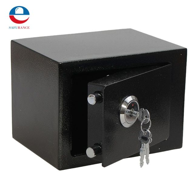 Durable  Strong Iron Steel Black Key Operated  Security Money Cash Safe Box Home Office House New Arrival