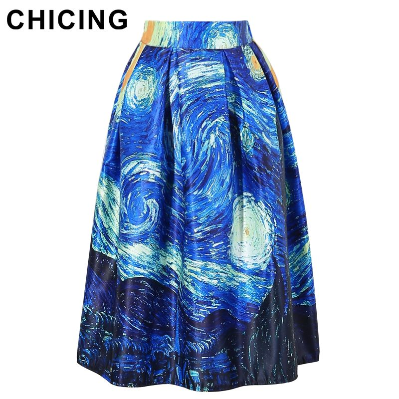 CHICING Women Vintage Pleated Skirt 2017 Starry Sky Oil Painting Elastic Rockabilly High Waist Pleated Midi Skirt Saias A1603002