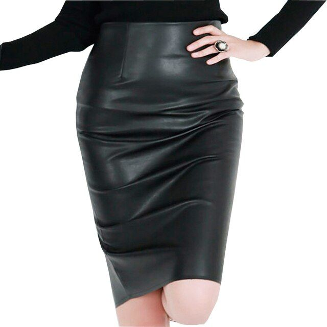 XS-4XL New Collection Women Leather Skirt Plus Size Fashion Womens leather skirts High Waist  Sexy Pu Faux Leather Skirt Blue