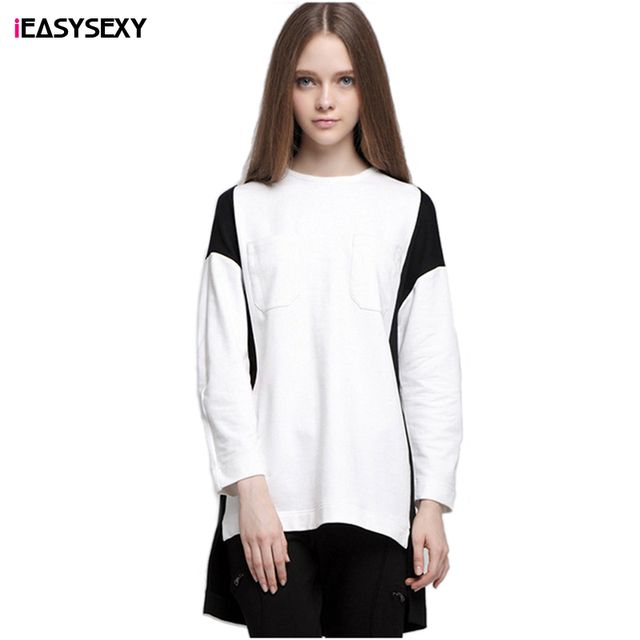 iEASYSEXY 2016 New Autumn Harajuku Sweatshirt Black White Patchwork Casual Women's Sweatshirt O-Neck Full Sleeve Loose Hoodie