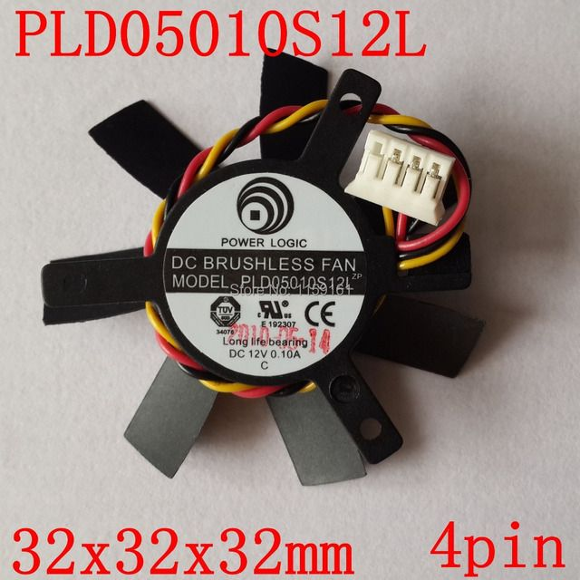 Free shipping  PLD05010S12L 32x32x32mm 45mm DC 12V 0.1A  4PIN  graphics card  fan