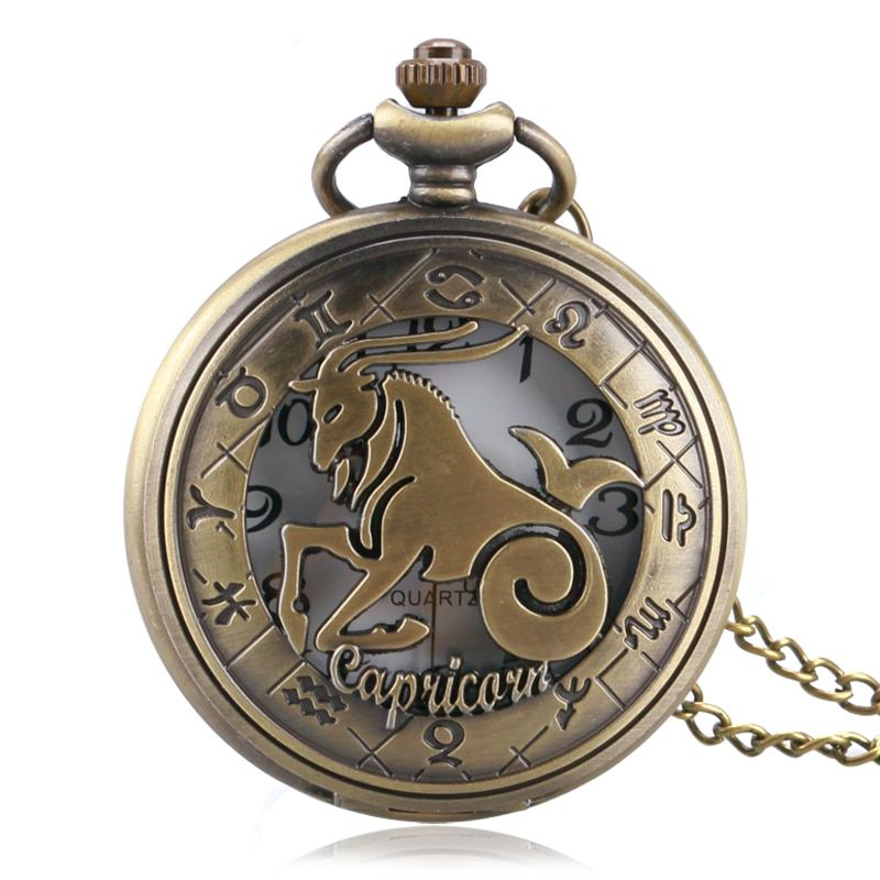 Constellation Stylish Capricorn Design Pocket Watch Women Men Zodiac Pendant Necklace Chain Fashion Birthday Gift P1060