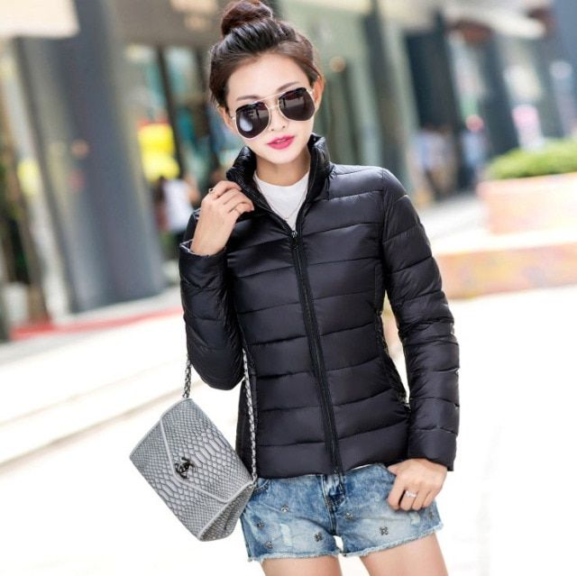 Winter Jacket Women Basic Coat Female Cotton Stand Collor Thiken Chaquetas Mujer Casual Slim Short Padded Jacket Multicolor Z15