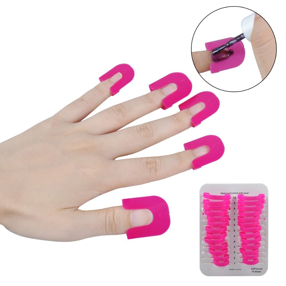 Biutee 1 Set/26Pc Pro Manicure Finger Nail Art Case Design Tips Cover Polish Shield Protector Tool