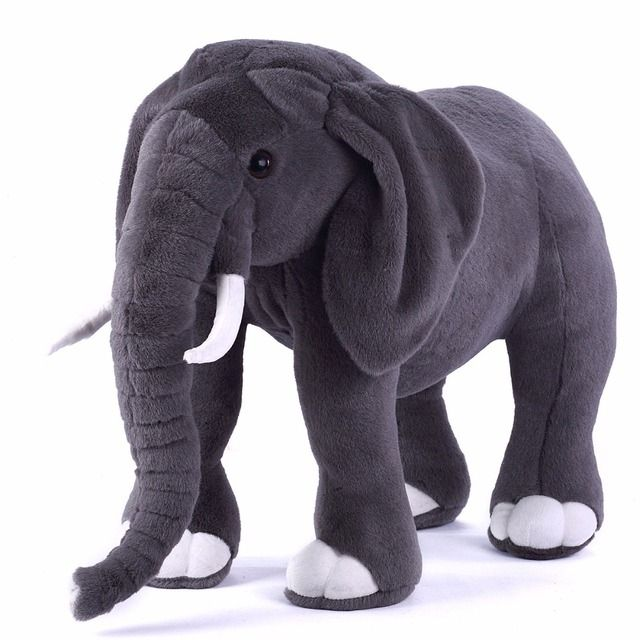 Fancytrader 30'' / 75cm Big Lifelike Stuffed Giant Soft Plush Simulation Elephant Toy Emulational Animal Home Decoration FT50164